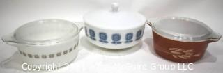 Three (3) Vintage Pyrex Casserole Dishes with Lids in Autumn Harvest and Town & Country