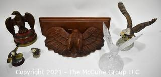 Group of Eagle Themed Items Including Carved Wooden Shelf and Statue, Crystal Statue, and Porcelain Figurines