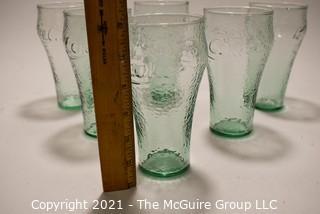 Set of (6) Green Wavy Glass Coca-Cola Glasses