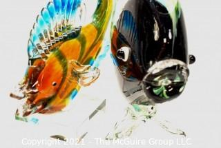 Two (2) Hand Blown Murano Style Glass Fish Sculture or Bookends
