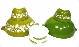 Group of Vintage Pyrex Bowls Including Green Spring Blossom Mixing Bowl