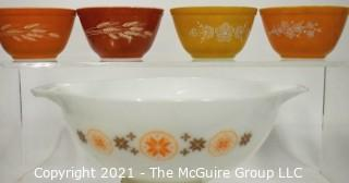 Group of Vintage Pyrex Bowls Including Yellow & White Gooseberry Mixing Bowl