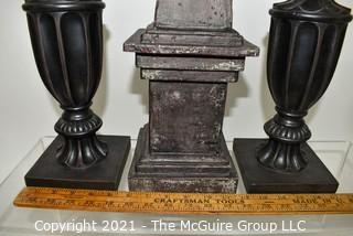 Contemporary Decorative Obelisk and Urn Shaped Decorative Statues.