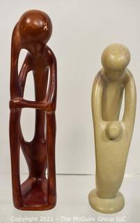 Two (2) Carved Soap Stone Mother & Child Figures.