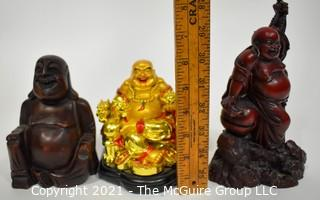 Three (3) Carved Laughing Fat Buddahs.  Laughing Buddha brings good luck, contentment and abundance in one's life.