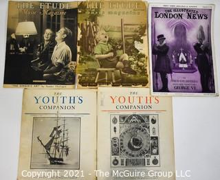 """Assortment of Vintage Magazines including """"The Etude"""" and """"The Youth's Companion"""""""