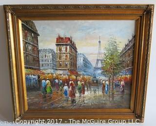 Framed Parisian Landscape; Oil on Canvas; 25 1/2 x 29 1/2