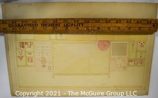 Vintage 1930's Hand Drawn Interior Design Plans By Butterworth Mounted on Picture Board.