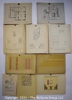Vintage 1930's Hand Drawn Design Panels By Butterworth Mounted on Picture Board.