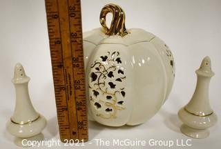 Lenox Porcelain Pierced Pumpkin Jar with Lid and Two Salt & Pepper Shakers.