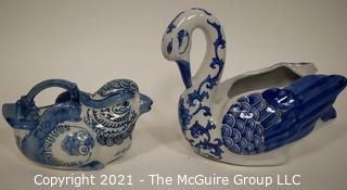 Blue and White Chinese Ceramic Duck and Chicken