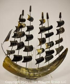 "Vintage Hand Made Buffalo Horn Tan Boat, Six Masts.  22"" x 17""."