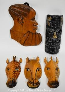 Assorted Ethnographic African Wood Carvings Includes Profile, Masks and Giraffes