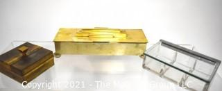 Three (3) Vintage Playing Card Boxes Including Hickok Gold Plated, Napier Brass with Alternating Flip Top and Lucite.