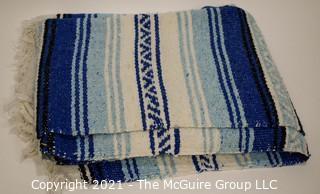 Blue & White Woven Throw Blanket.