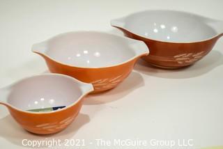 Set of Three (3) Vintage 1970's Nesting Pyrex Autumn Harvest Mixing Bowls