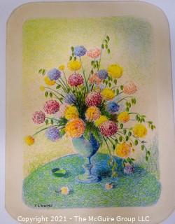 Floral Still Life Pastel on Paper Signed R L Hicks.