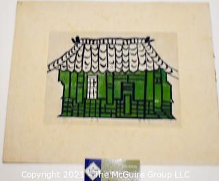 Japanese Wood Block on Hand Rolled Paper of Green House, Signed & Numbered 1973
