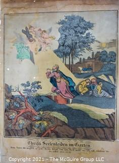 """Antique German Colored Engraving of """"Christ in the Garden"""", Nurnberg"""