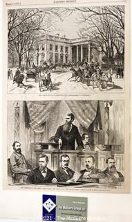 Page from Harper's Weekly Dated March 17th, 1877 Featuring Illustrations of The White House, Washington, D.C. and  The Presidency- Mr. Ferry Announcing the Result of the Count.
