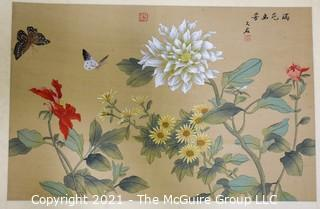 Hand Painted Floral Scene on Silk with Chop Mark