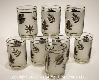 Set of (8) Leaf/Frosted Cocktail Glasses