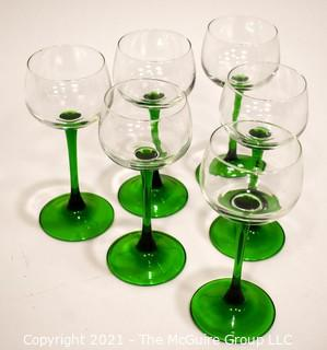 Set of (6) Green to Clear Stem Wine Glasses