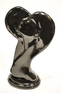 Pair of Black Ceramic Women in Profile Figurines.