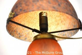 Reproduction Arts and Crafts Mission Style Orange Frosted Glass Table Lamp.
