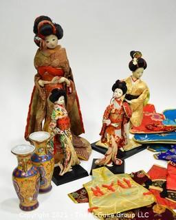 Group of Souvenir and Decorative Items Including Geisha Dolls