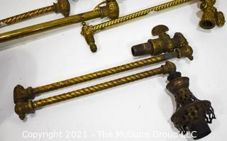 Assortment of Heavy Brass Victorian Light Lamp Parts