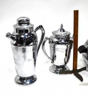 Vintage Barware including Etched Chrome Deco Coffee Pot, 1950's Chrome Penguin Ice Bucket and Restoration Hardware Repro Penguin Form Martini Shaker
