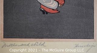 """""""Mother and Child"""" signed Hiroshigi"""