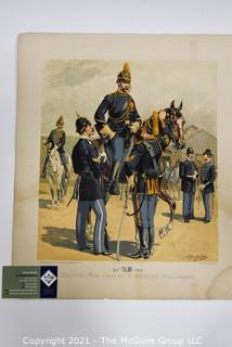 """Lithograph by G. H. Huek and Co., NY: """"Enlisted Men Cavalry and Infantry in Full Dress"""""""