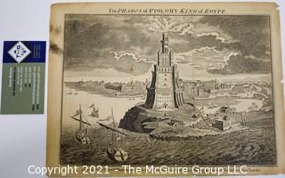 Vintage Black & White Unframed Engraving The Pharoh's of Ptolomy King of Egypt by Universal Magazine for J Hinton, 1790