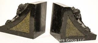 Set of Vintage Carved Black Marble Bookends with Flower Motif