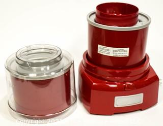 Group of Red Kitchen Ware Including Enamel Pot with Lid, Wall Phone, Toaster and Yogurt Ice Cream Maker.