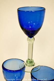 Set of Six (6) Cobalt Blue Goblets with Clear Stems.