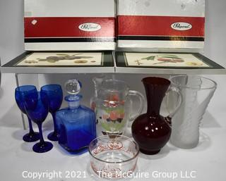 Mixed Glassware and Two Boxes of Pimpernel Placemats