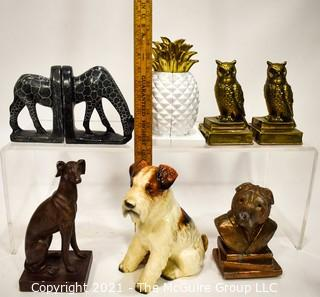 Group of Animal Shaped Bookends and Figurines.