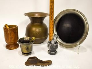 Collection including (3) Mortar and Pestles, one serving tray, brass spittoon and shoe makers last