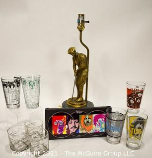 Barware including Recipe Cocktail Glasses, Shakers, Brass Golf Lamp and Three Beatles Glasses