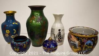 Six (6) Cloisonné & Porcelain Asian Vases & Planters