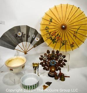 Assorted Items Including Fan, Parasol, Mexican Ceramic Tree of Life Candle Holder, Bowls and Brass Bells.