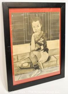 """Framed and Signed Print by Savannah Artist William Kwamena-Poh; """"Where's Your Mama Gone, Little Boy?"""""""