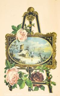 Framed Under Glass Victorian Christmas Card of Winter Scene.