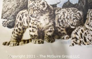 """Pencil Signed and Numbered paper lithograph titled """"Curious Cubs"""", by Chris Calle"""
