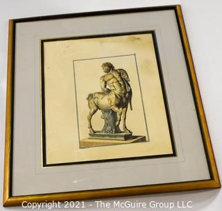 Framed Under Glass Print of Greek Centaur.