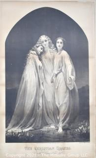 """Vintage Large Scale Black & White Lithograph of the Three Christian Graces Produced for Frank Leslie's Lady's Journal. 32"""" x 21"""""""
