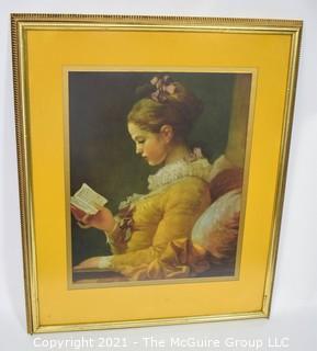 """Framed Under Glass Print of Girl Reading.  31"""" x 24"""""""